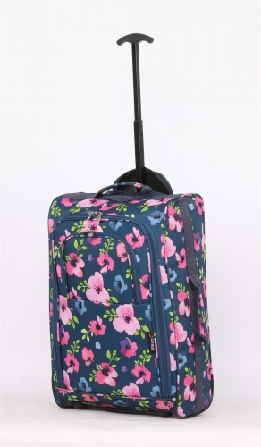 5Cities Lightweight Trolley 42L Blue with flowers