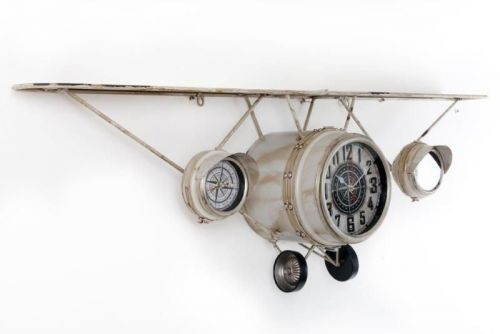 125X40Cm Vintage Metal Cream Plane Shape Wall Hanging Clock With Shelf With 3 Clocks