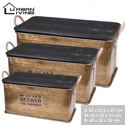 Set of 3 Metal Storage Case With Black Wooden Lid