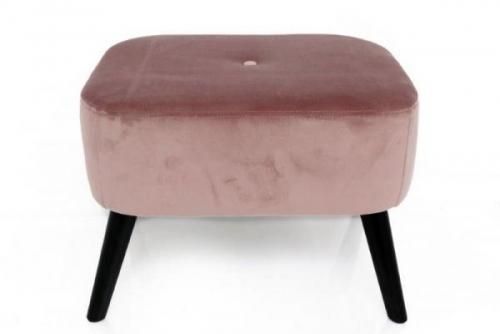 55X41X52 Pink Velvet Square Stool Leg Rest With Wooden Legs