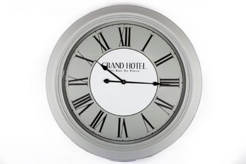 78Cm Large Wooden Grey Clock Grand Hotel Roman Numbers