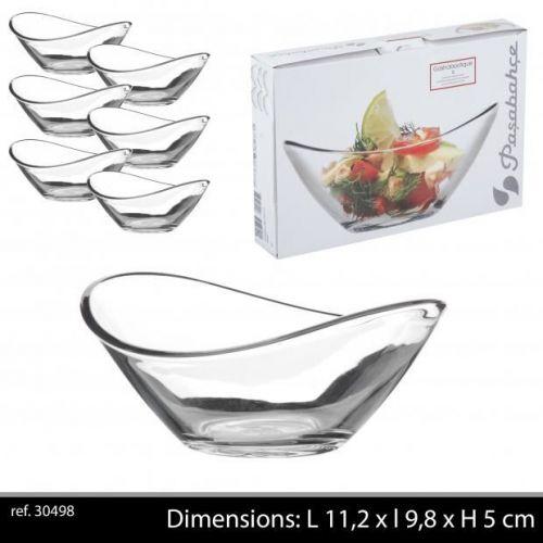Passabache 6Pc Tapas  Gastro Glass Curve Dishes