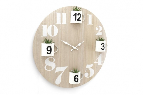 Wooden Clock With Plants
