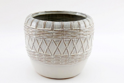 Natural Interiors Glazed Woven Design Pot Large