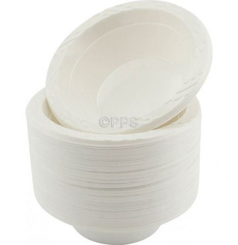 100 Pcs 12oz Disposable White Plastic Bowls Party Picnic Solution
