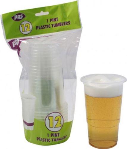 12pcs 1 Pint Plastic Tumblers Disposable Party Drink Glasses