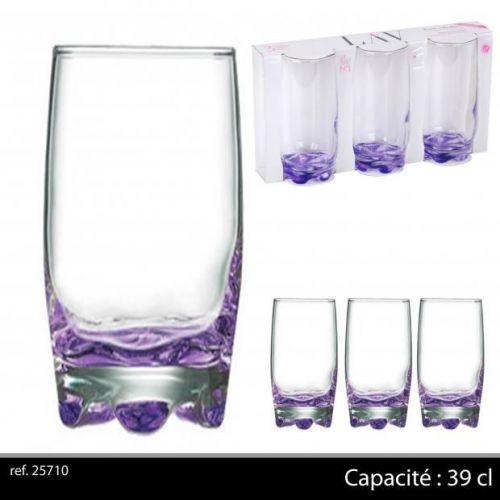 3Pk Hi Ball Glasses 39Cl Purple