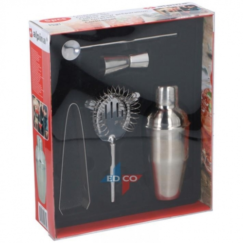 Alpina cocktail set 5piece stainless steel silver grey