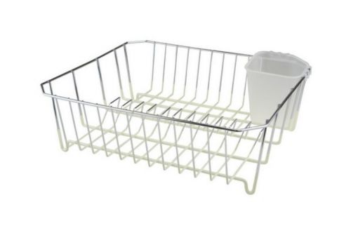 32X36Cm Chrome Dish Drainer Silicone Coating With Plastic Cutlery Draining Caddy