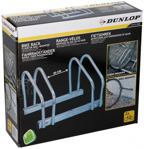 Dunlop bike rack for two bicycles floormount 26.5 x 40 x 32.5 cm silver