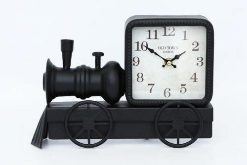 20X30Cm Train Engine Shape Clock Black Metal For Home Decoration