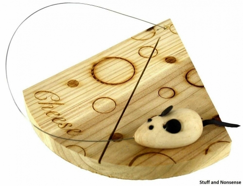 Handcrafted Wooden Cheese Board With Mouse