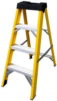 4 Tread Glass Fibre Ladder Lyte Heavy Duty Stepladder Electrical Safe
