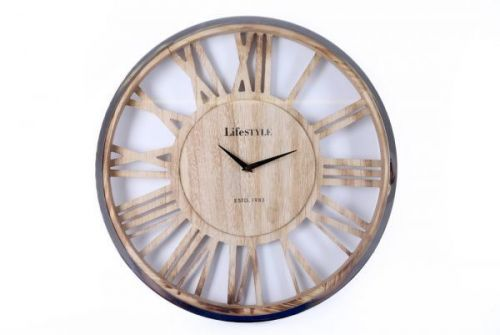 48x48x5.5cm Rustic Effect Silver Wooden Wall Hanging Clock Roman Numeral
