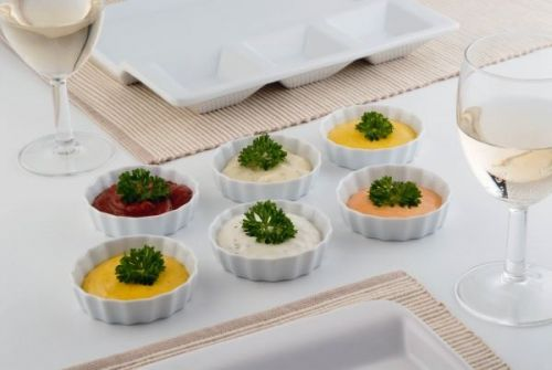 6 Piece Ribbed Ramekin Set For Serving French onion soup, molten chocolate cake