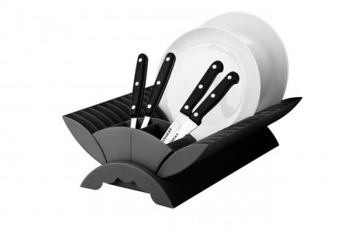 Black - Plate Drainer Kitchen Dish Rack With Cutlery Holder Plastic