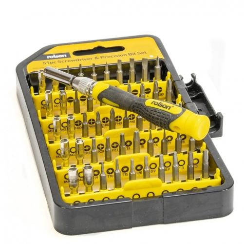 51Pc Precision Screwdriver and Bit Set Rolson