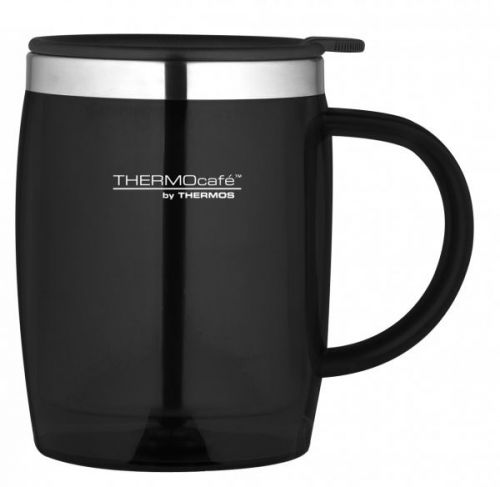 Genuine Thermos ThermoCafe Zest Black Hot and Cold Stainless Steel Desk Mug 450ml