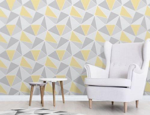 Elegant Apex Geo Sidewall Yellow Grey Wallpaper Wall Decoration 0.52m x 10.05m