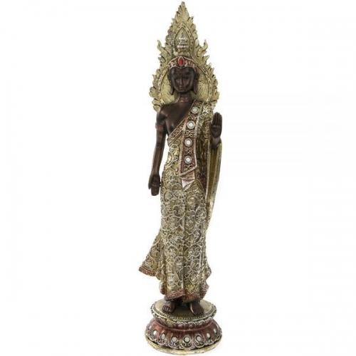 Exotic Art Standing Decorated Bronze Dressed Buddha 40Cm Home Decoration