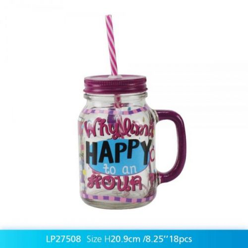 500 Ml Cocktail Happy Hour Glass Mason Jar With Handle Lid And Straw