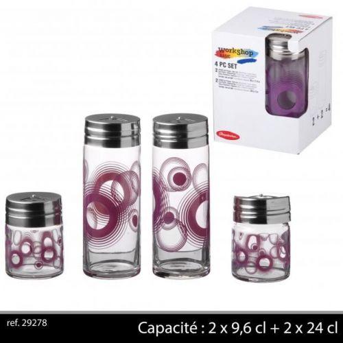 4Pc Glass Condiment