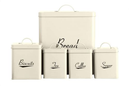 5pc Enamel Storage Set Cream