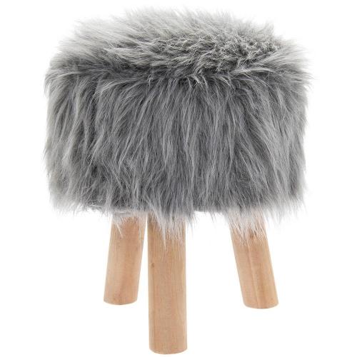 Luxury Round Grey Furry Foot Stool Wooden