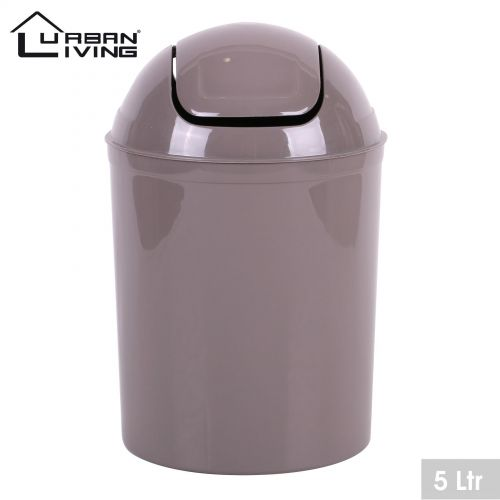 Taupe Plastic 5 Litre Mini Swing Top Lid Waste Bin Office Home Bathroom Toilet