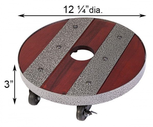 12 Inch Round Heavy Weight Industrial Wood Plant Caddy