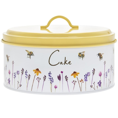 Busy Bees Round Enamel Metal Cake Tin Storage Container