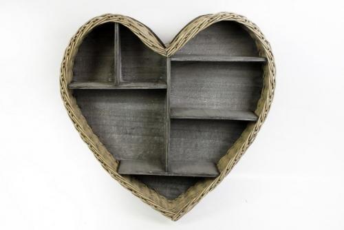 52X50 Wicker Wooden Heart Shape Wall Shelf Unit
