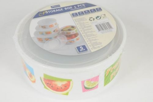 Set of 5 Round Storage Box With Lids Containers for Home Kitchen Food