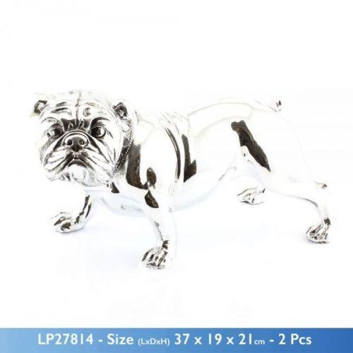 37X21Cm Silver Art Bulldog Home Decoration Sculpture