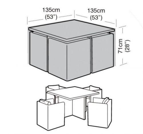 4 Seater Large Garden Cube Set Furniture Waterproof Cover 135Cm Black