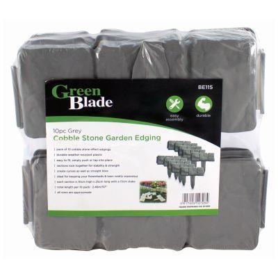 10Pc Grey Cobble Stone Garden Edging Plastic