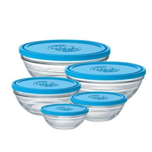 Set of 5 Duralex Freshbox Round Glass Bowl with Lid Serving Storage Glassware