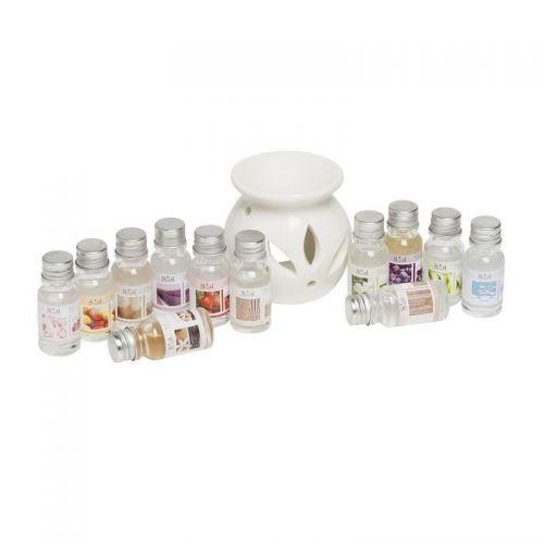 White Ceramic Oil Burner DiffuserWith 12 Asst 10ml Fragrance Oils Gift Set