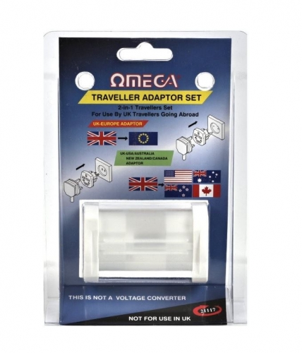 Omega 2 in 1 Travel Adaptor Set Convert UK 3 Pin to Worldwide USA Australia New Zealand Canada Europe Sockets