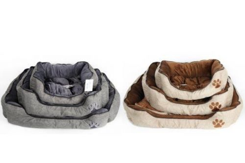 Set Of 3 Soft Woven Linen Pet Bed Square Shape 2 Assorted Colours