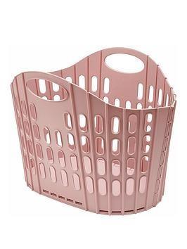 Addis Fold flat Pink laundry basket Plastic 38 litre light weight